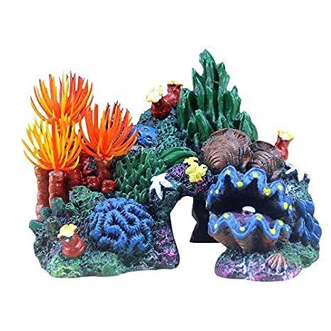 Petacc Acuario Decoración Realista Peces Ornament Resina Respetuosa del Medio Ambiente Decoraciones con Vivos Coral y Seashell, Adecuado para Peces Tanques, ...
