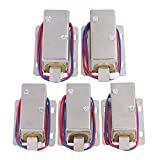Mxfans 5pcs 12V Cabinet Door Electric Lock Assembly Solenoid Lock Tongue Upward Silver