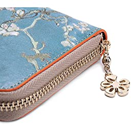 Jiame Zip Printed Leather Wallet - Van Gogh (Apricot blossom)