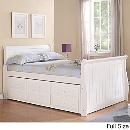 Amazon.com: Donco Kids Full Sleigh Captains Bed with Twin Trundle ...