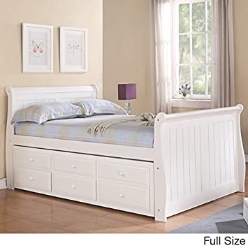 donco kids full sleigh captains bed twin trundle and storage drawers white