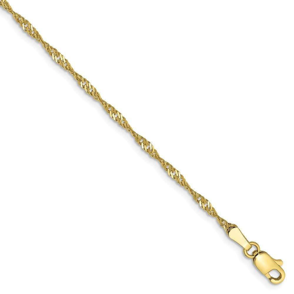 Roy Rose Jewelry 10K Yellow Gold 1.85mm Singapore Chain Bracelet ~ Length 7'' inches