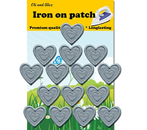 - Iron On Patches - Gray Heart Patch 15 pcs Iron On Patch Embroidered Applique1.29 x 1.22 inches (3.2 x 3.1 cm) A-165