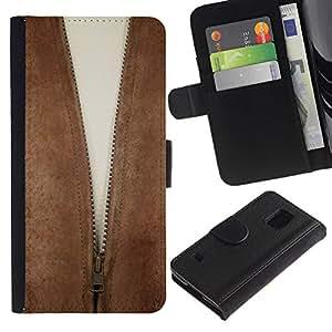 LASTONE PHONE CASE / Lujo Billetera de Cuero Caso del tirón Titular de la tarjeta Flip Carcasa Funda para Samsung Galaxy S5 V SM-G900 / Cleavage Zipper