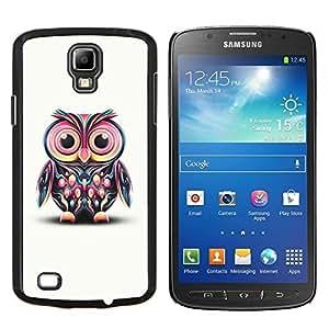 KLONGSHOP // Cubierta de piel con cierre a presión Shell trasero duro de goma Protección Caso - Gran colorido lindo del búho de ojos - Samsung Galaxy S4 Active i9295 //