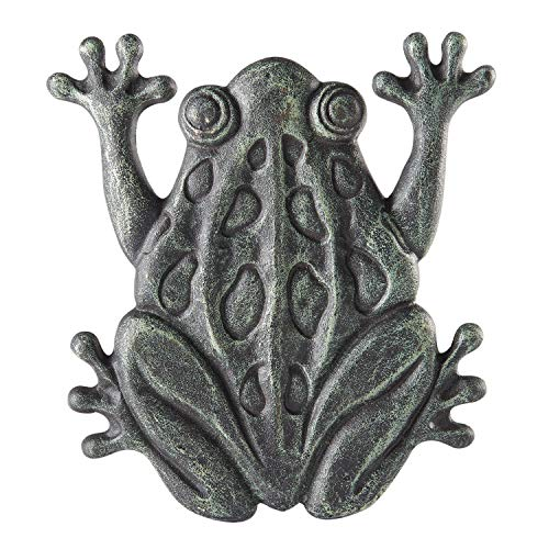 (Upper Deck Cast Iron Frog Stepping Stone - Animal Garden and Yard Decor with Verdigris Finish)