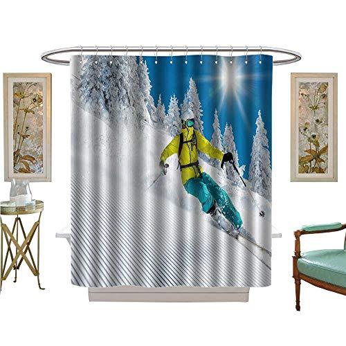 luvoluxhome Shower Curtains 3D Digital Printing Freeride in Powder Snow ski Satin Fabric Sets Bathroom W48 x L84