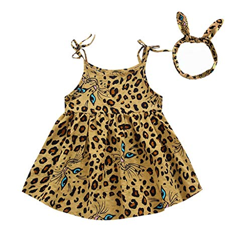 MALLOOM Toddler Kid Baby Girl Sleeveless Leopard Printed Party Princess Dress Clothes Yellow
