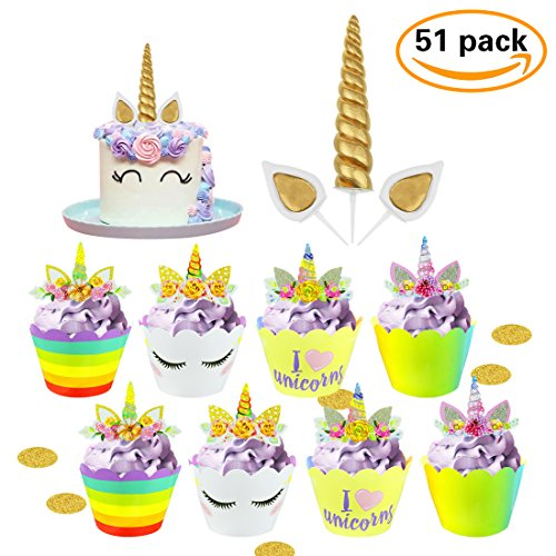 52pcs Gold Unicorn Horn Birthday Cake Toppers with Rainbow Cupcake Picks and Wrappers, Great Unicorn Party Decoration Supplies for Baby Shower, Wedding and Birthday - Party It Yourself Do Favors