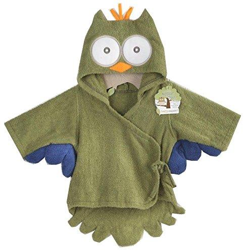 Baby Aspen Hooded Towel/Robe - My Little Night Owl - Green - 0-9 Months
