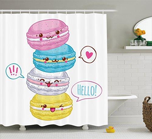 Kawaii Shower Curtain By Lunarable Sweet Macaroons