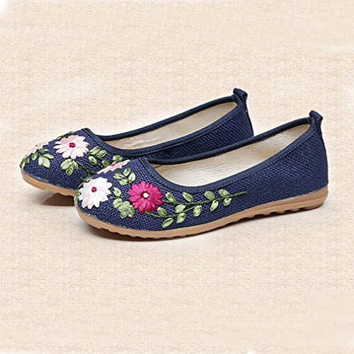 Giy Womens Mocassini Mocassino Piatto Esotico Slip-on Punta Rotonda In Lino Fiori Abito Casual Mocassino Oxford Scarpe Blu Scuro