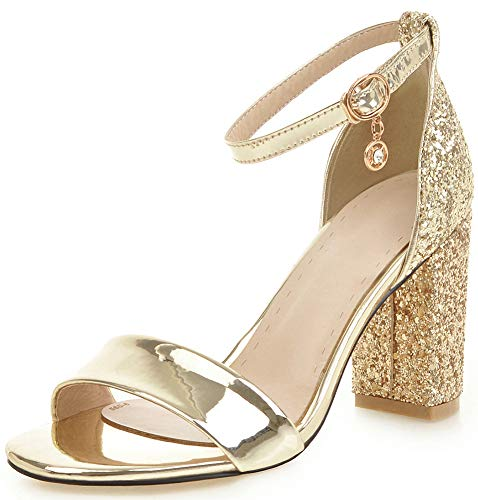 (IDIFU Women's Unique Sequins Open Toe Pumps Ankle Strap High Chunky Heel Sandals (Gold, 9 M)