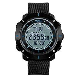 Big Men's Military Sports Digital Watch Compass Waterproof Stopwatch 3 Groups Alarm Wristwatch Black