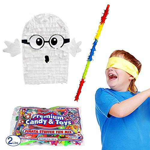Halloween Ghost with Glasses Pinata Kit Including Pinata, 2 lb Candy Filler, Buster Stick and Bandana
