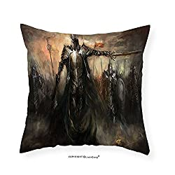 VROSELV Custom Cotton Linen Pillowcase Fantasy World Decor Collection General Leading His Army in War Medieval Armored Knight Kingdom Ancient Fantasy Art Bedroom Living Room Dorm Brown 22x22