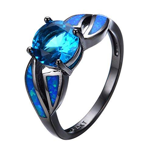 Ring Ocean Blue Fire Opal Black Gold Filled Jewelry Size 6-10 Rings ()