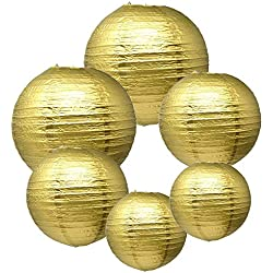 E-MANIS Gold Paper Round Lanterns for Birthday Wedding Party Decorations Crafts (1-Pack of 6) (Gold)
