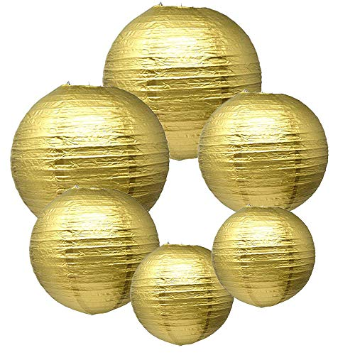 Gold Paper Lanterns (E-MANIS Gold Paper Round Lanterns for Birthday Wedding Party Decorations Crafts (1-Pack of 6))