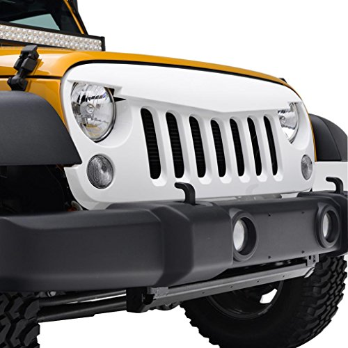E-Autogrilles White ABS Angry Bird Replacement Grille Grill with Shell for 07-17 Jeep Wrangler - Shell Grill
