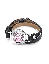 Mesinya Essential Oils Diffuser Bracelet 316L Stainless Steel Leather Wrap Locket Bangle 6.6''-8.2''Wrist (Ocean Wave)