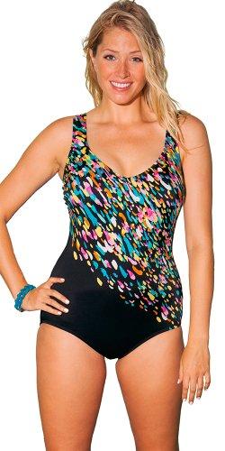 Aquabelle Women's Plus Size Confetti Engineered Swimsuit Multi 16