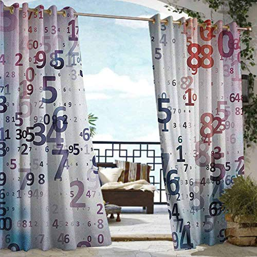 Andrea Sam Outdoor Privacy Curtain for Pergola Abstract,Digital Code Numbers Computer Database Science Information Technology Themed Art, Teal Black,W108 xL84 Silver Grommet Top Drape