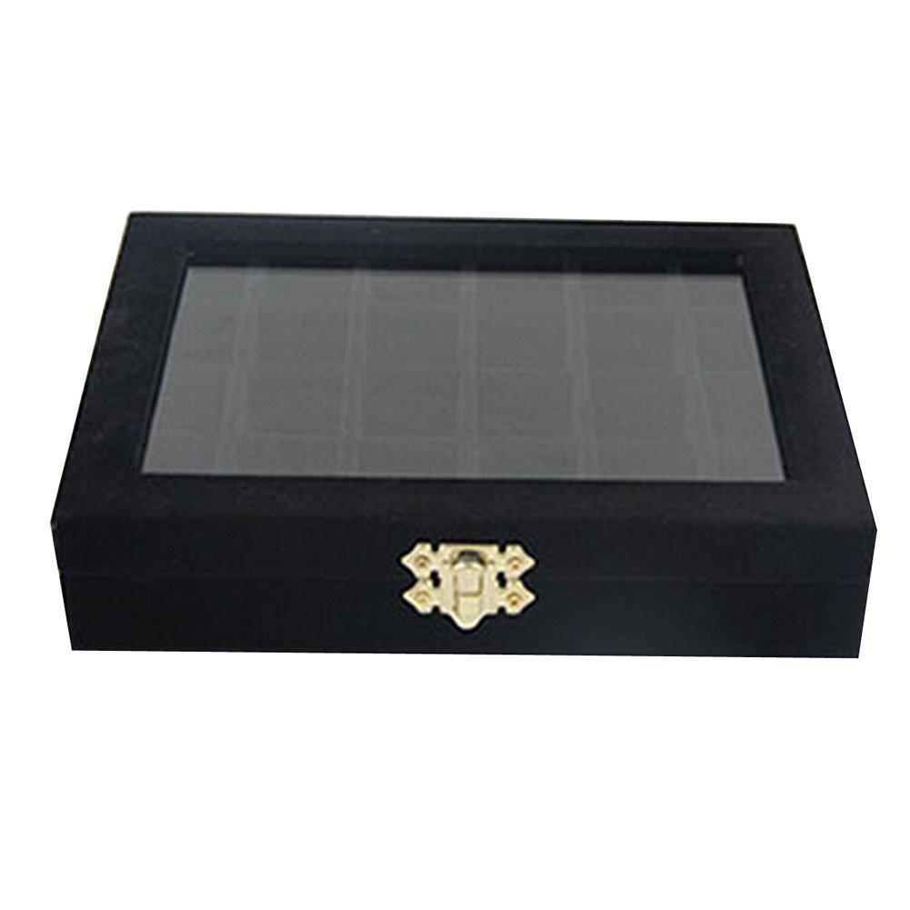 87dda8c5f1fb Canank 24 Cuadrículas Joyero para Pendientes y Anillos Exhibición Caja  Joyero Caja de almacenamiento (black)  Amazon.es  Hogar