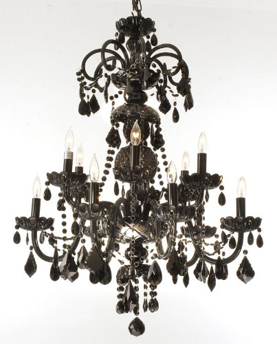 Authentic all crystal chandelier jet black crystal h30 x w28 authentic all crystal chandelier jet black crystal mozeypictures Image collections