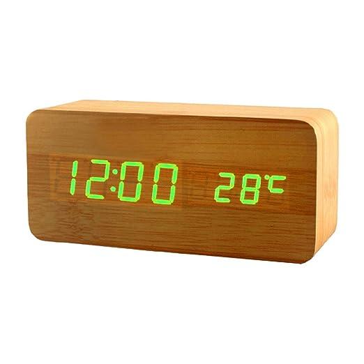 YOUNICER Reloj Despertador de Madera Mesa de Noche Reloj Digital ...