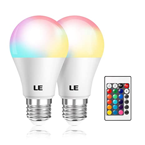 online store 5d41d 332cc LE A19 E26 LED Light Bulbs, 40 Watt Incandescent Equivalent, RGBW,  Dimmable, 6W 470lm, 4 Modes Color Changing with Remote Control, for Home,  Living ...