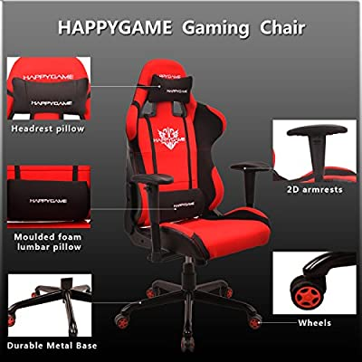 HAPPYGAME Fabric 330lbs Gaming Chair seat,2D Height Adjustable Armrest Computer Chair, Cheap Video Gaming Chair and Seat Height Adjustment Chair(Red)OS7206 by HAPPYGAME