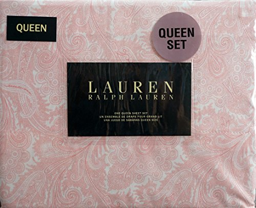 Lauren Ralph Lauren 4 Piece Queen Sheet Set Pink Paisley Pat
