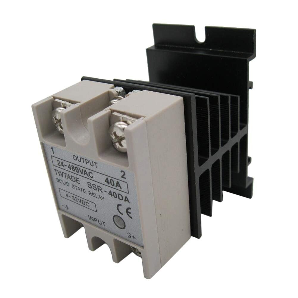 Fregadero de calor TWTADE SSR-40 DA 40A DC 3-32V a AC 24-380V SSR Rel/é de estado s/ólido