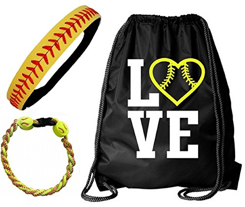 Kenz Laurenz Softball Headband Set - Leather Seamed Headbands Yellow Red Stitching, Softball Post Earrings, Softball Titanium Necklace, Softball Bow Hair Ties (Softball Set Bag Headband Bracelet) ()