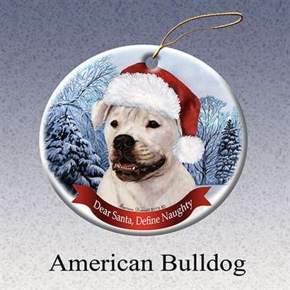 American Bulldog Santa Hat Christmas Ornament Porcelain China U.s.a. Gift