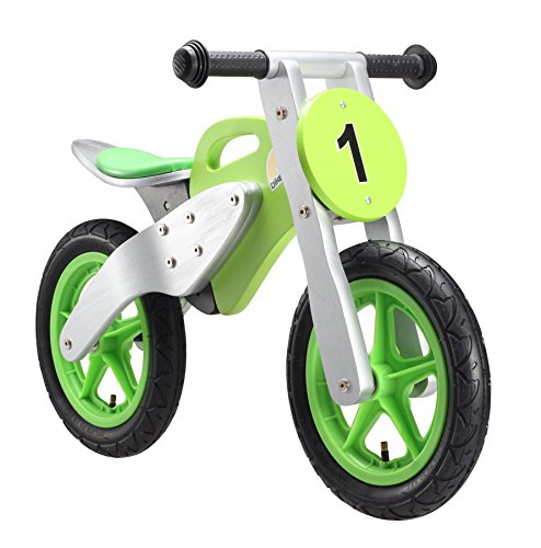 BIKESTAR Original Safety Wooden Lightweight First Running Balance Bike with air tires for Kids age 3 year old boys and girls 12 Inch Motorcycle Racing Bike Edition Speedy Green