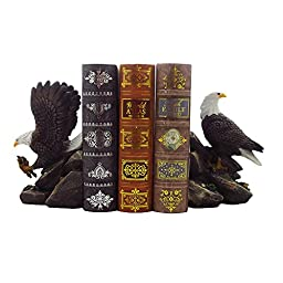 American Bald Eagle Bookend Set Sculptures in Office and Patriotic Home Decor, Bird Statues and Figurines by Home-n-Gifts
