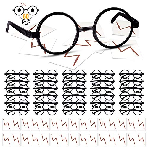 Lightning Bolt Halloween Costume (TUPARKA 60Pcs Wizard Glasses with No Lenses, Round Glasses Frame with Lightning Bolt Tattoos for Halloween Costume Party)