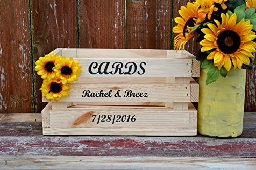 - Country wedding card box rustic natural wood crate sunflower accents personalized front holds 100+ cards