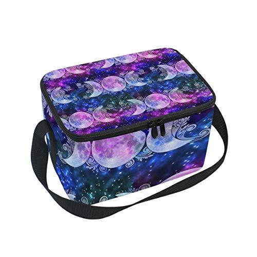- Lunch Bag Cooler Tote Bag Triple Goddess Moons And Stars Lunchbox Meal Prep Handbag for Picnic School Women Men Kids