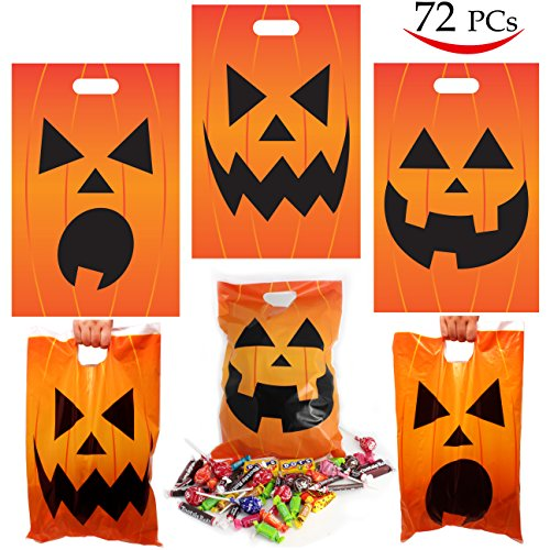 72 Pieces Halloween Jack O Lantern Trick Or Treat bags for Trick-or-Treating, Halloween Party Favors, Halloween Snacks, Event Party Supplies, Halloween Goodie Bags by Spooktacular Creations (Trick Or Treat Decorations)