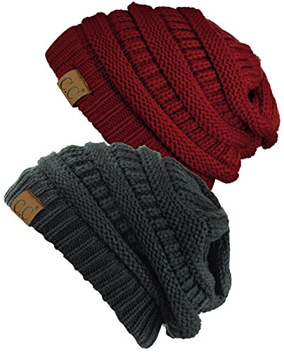 C.C Trendy Warm Chunky Soft Stretch Cable Knit Beanie Skully, 2 Pack Burgundy/Melange (Burgundy Cable Knit)