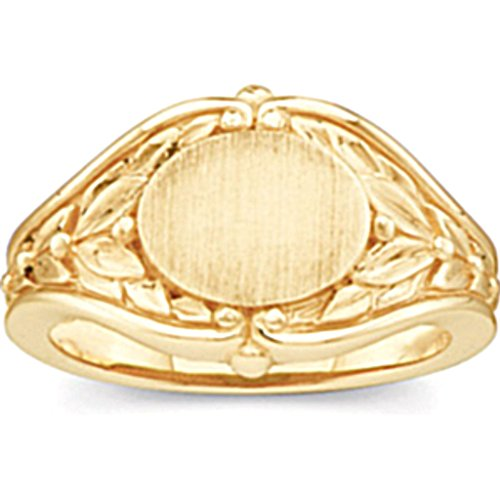 Women's Oval Floral Embossed Semi-Polished 10k Yellow Gold Signet Ring, Size 6 (10.2MM) by The Men's Jewelry Store (for HER)