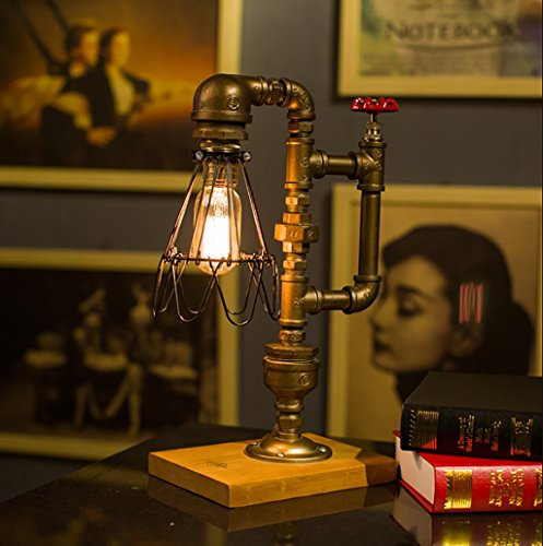 Simple Retro Solid Wood Base Study Eye Protection Table lamp/Industrial Wind Bedroom Bedside Water Pipe Iron Art Table lamp Size: 2337cm by Table Lamps Q (Image #2)