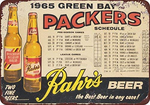 Joeaney New Tin Sign Aluminum Retro 1965 Green Bay Packers Rahr's Beer Home Schedule Metal Sign 8 X 12 Inch