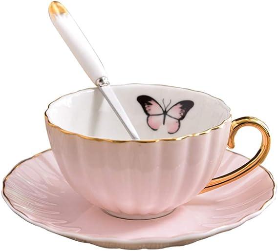 Juego de 3 tazas de café de porcelana fina de porcelana china con platillo y cuchara, juego de tazas de café para el hogar, cocina, boda, con caja de regalo rosa: Amazon.es: