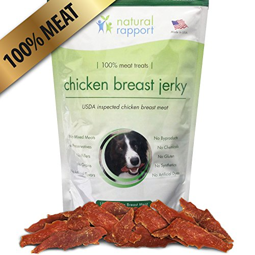 Organic Chicken Strips - Dog Jerky Treats - 100% Natural Chicken Meat - Made In the USA - USDA Inspected – No Preservatives, Fillers or Mixed Meats – Odor-Free – Great For Training & Rewarding – 8 oz Re-sealable Bag