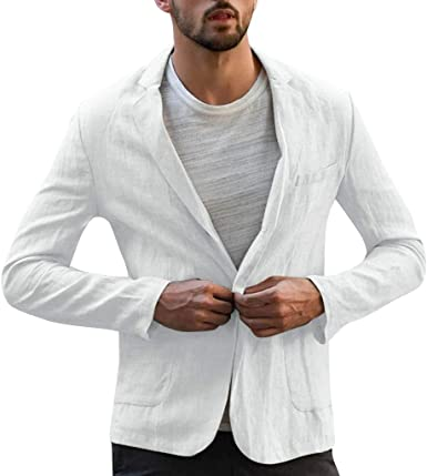 NestYu Mens Pure Color Linen1 Button Long-Sleeve Business Blazer Outwear