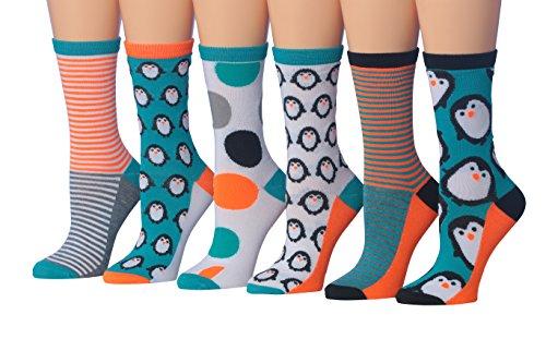 (Tipi Toe Women's 6-Pairs Value Pack Penguin Novelty Animal Design Cozy Socks, (sock size 9-11) Fits shoe size 5-9, WC52-A )